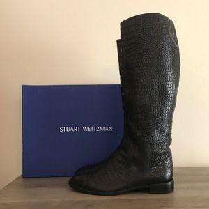Stuart Weitzman Equine Crocodile Leather Boots 9.5